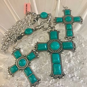 Jewelry - Turquoise Cross Necklace and Earrings Set NWT